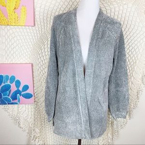 Loft grey open front knit soft cardigan small